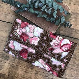 Pink Beaded Sequin Clutch